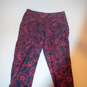 Ann Taylor Loft Red and Black Pants Elastic Waist